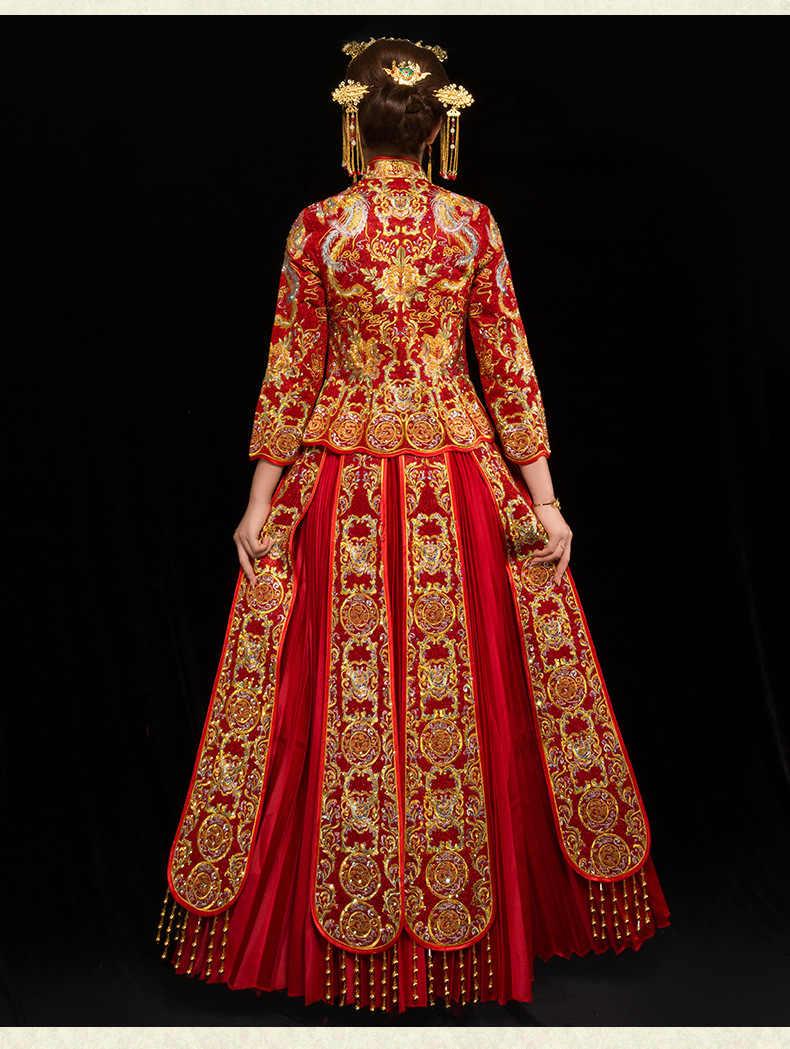 נשים פניקס רקמת חתונת שמלת הכלה מסורות מסורתי ערב שמלת סיני Cheongsam אדום ארוך שרוול Qipao