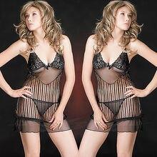 Womens Black Sheer Lace Lingerie Babydoll Dress Striped Chemise Nightie S M 6-10