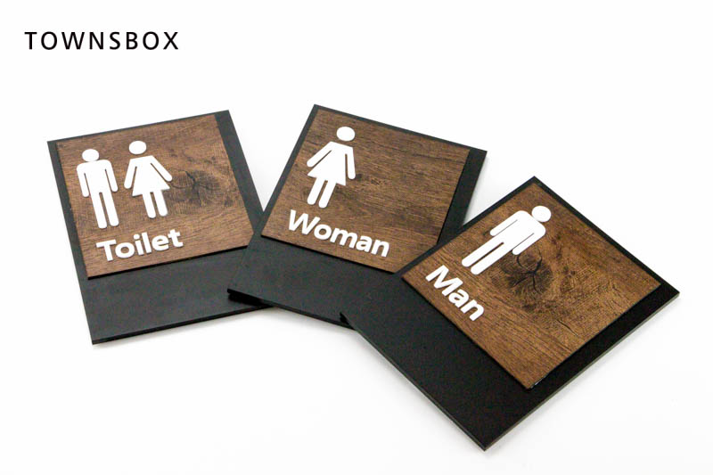 Acrylic WC Door Sign Bathroom Signage Plate Man Women Sign Plaque Wall Mounted WC Board Wash Room Sign Wall Sticker Sticky Card