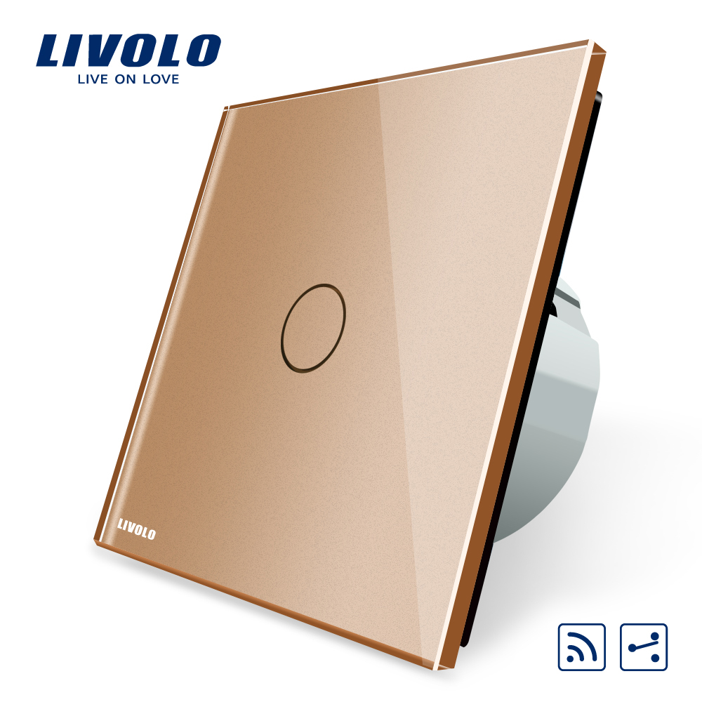 Livolo EU Standard 1Gang 2 Way, Remote Switch, Wireless Switch VL-C701SR-13, Golden Color Glass, Without Mini Remote livolo eu standard 1gang 2 way remote switch wireless switch vl c701sr 13 golden color glass without mini remote