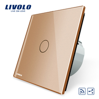 Livolo EU Standard 1Gang 2 Way, Remote Switch, Wireless Switch VL C701SR 13, Golden Color Glass, Without Mini Remote