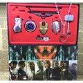 8 pçs/lote the avengers age of ultron ironman capitão américa escudo chaveiro conjunto 2016 Nova Mão Hulk Thor martelo anel chave do carro de brinquedo