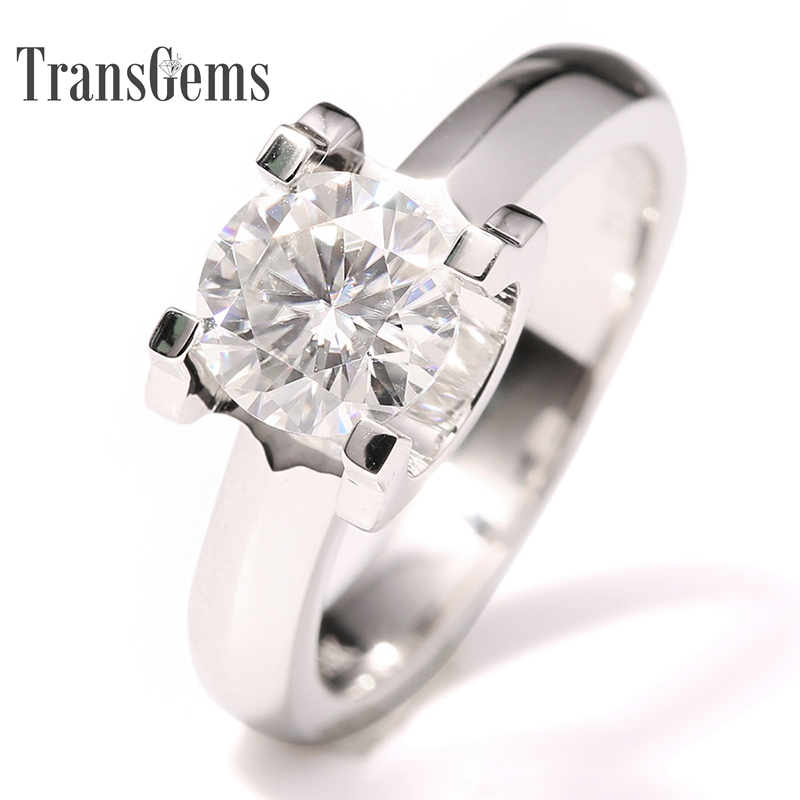 Transgems 14k White Gold 1 carat Diameter 6.5mm F Color moissanite Engagement Ring For Women Solitare transgems 1 6 ctw carat lab grown moissanite diamond eternity band solid 14k yellow and white gold engagement anniversary ring
