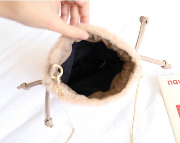 a6f85d92a ... Faux Bur Small Cellphone Shoulder Bag Muff Fluffy Mini Chain Crossbody  Bag for Women Cute Winter ...