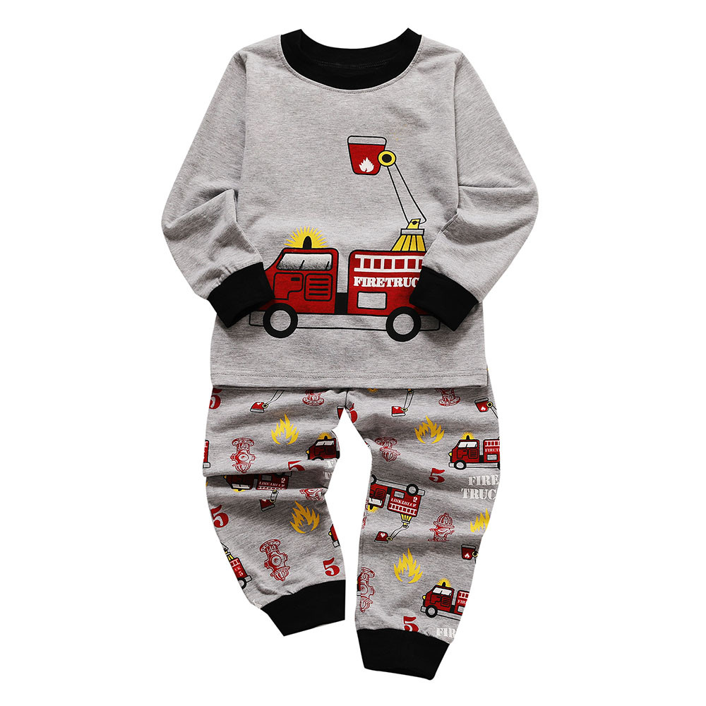 2018 Toddler Kids Baby Boys Girls Pajamas Cartoon Printed Tops Pants Outfits Set Long Pants Clothes Outfits Winter Set