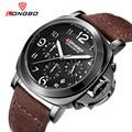 2016Longbo Chronograph army sport brand quartz men stop watch waterproof big dial luxury leather strap watches relogio masculino