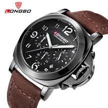 2016 ejército Cronógrafo deporte marca Longbo hombres cronómetro impermeable dial grande correa de cuero de lujo de cuarzo relojes relogio masculino