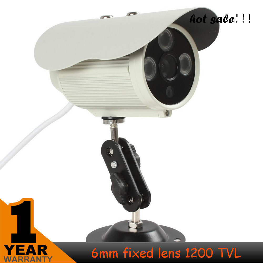 2017 ! 6mm 1200TVL Camera 1/4 CMOS HD 1024 x 768 IP66 3pcs Array IR LEDs Digital CCTV  Camera Bullet Camera free shipping 2015 newest cheapest freeshipping 6 array leds cctv camera cmos 700tvl plastic bullet hd mini monitoring security camera