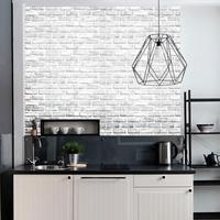 Modern White Brick Bedroom Wall Paper Self Adhesive Waterproof Kitchen Wall Decals PVC Furniture Wallpaper 3d 10 m Roll ZE104