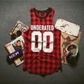 Hot sale 2018 UNDERATED Bandana Men's Extended Tee Shirts Men Skateboard Element t-shirt Hip Hop plaid vest Streetwear Clothing