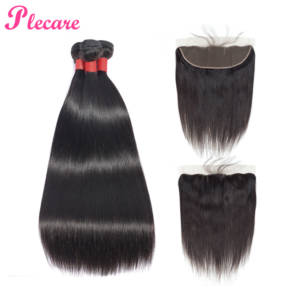 Plecare Straight Hair 3 Bundles With Frontal Peruvian 100 Human Hair Weave Bundles With Closure Natural