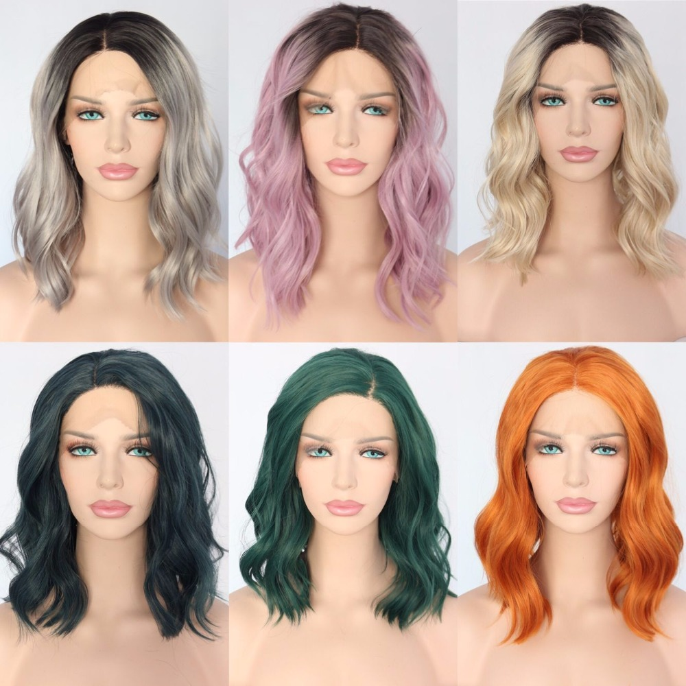 BeautyTown Polaris Short Heat Resistant Hair Black Ombre Blonde Blogger Daily Makeup Synthetic Lace Front Wedding