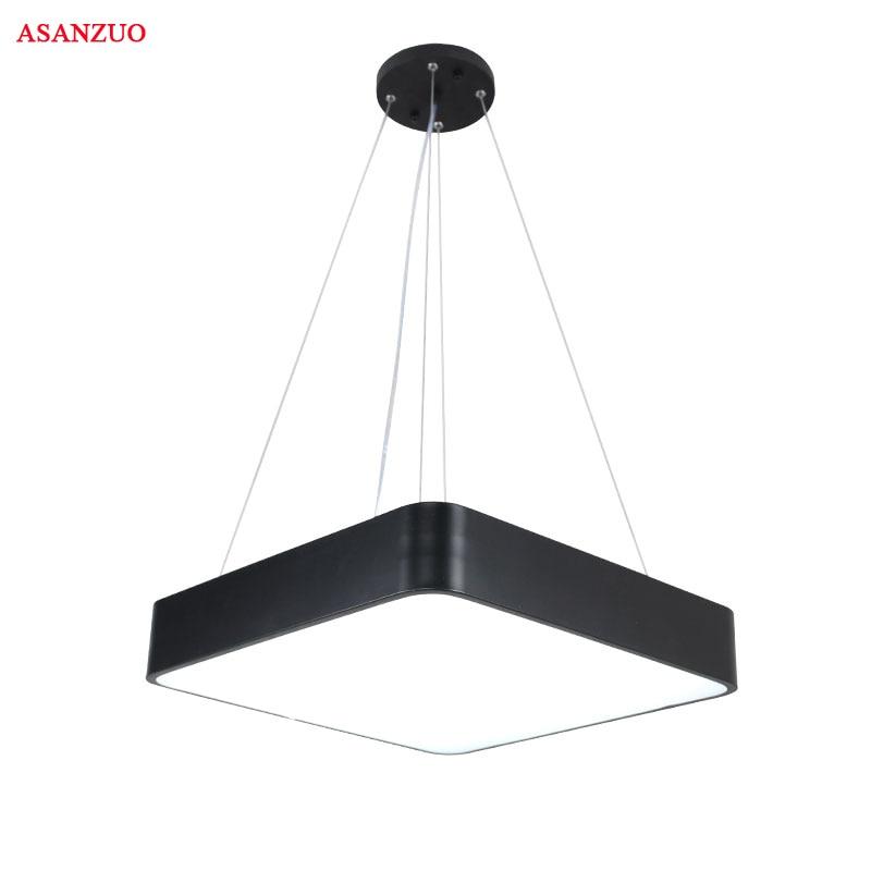 Moderne Kantoor LED Hanglampen 24 W 36 W 48 W AC85 265V Vierkante ultra dunne aluminium hanglamp Zwart /wit