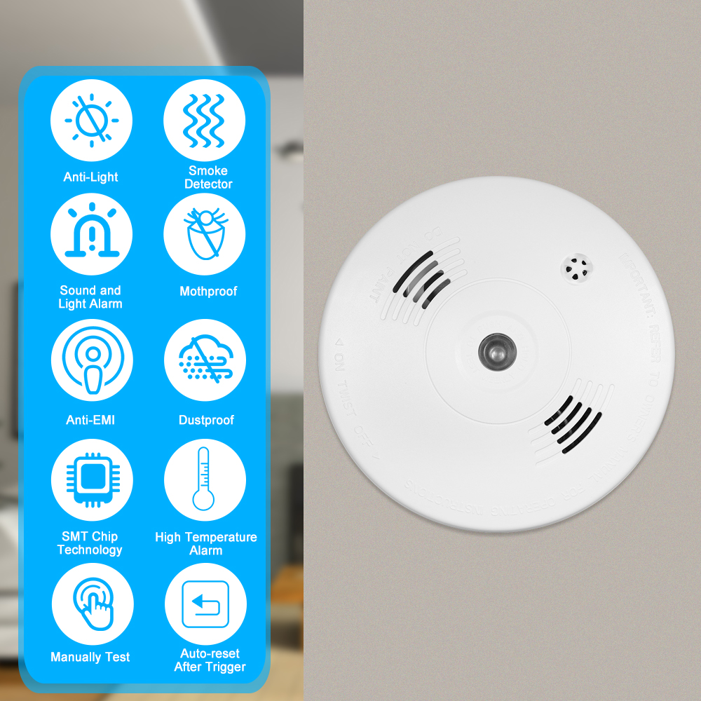 Wired Photoelectric Heat Detector High Sensitive Alarm Sensor Fire Alert Protection Anti Burning Connect To Wired Zone