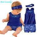 Líder urso Azul Moda Vestidos Ternos Do Bebê/Bebê Lenço + Vestido Sem Mangas + Calça Xadrez Gingham/Roupa Do Bebê 2016 Novo