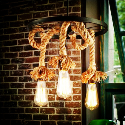 Rope Lamp Loft Retro Vintage Industrial Pendant Lighting Fixtures American Country Hanging Lights Lamparas Suspension Luminaire american loft industrial wind retro heavy metal car chain pendant lights personality luminaire vintage bulb lamp hanging light