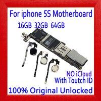100% Original unlocked for iphone 5S Motherboard Without Touch ID/With Touch ID,for iphone 5S Logic boards,16gb / 32gb / 64gb
