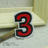 101033 Arabic Numerals Number 3 Iron-on Patches