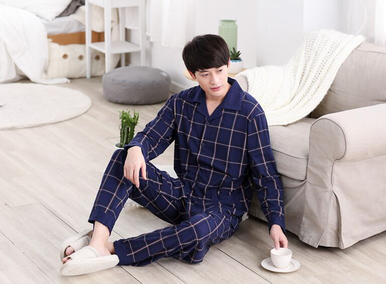2019 New Arrival Fashion Men Sleeping Cloths  Turn-down Collar Dark Blue Plaid Coat Free Shipping(China)
