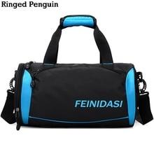 Кольчатый пингвин Водонепроницаемый Мужские сумки для путешествий 2018 Баррель Портативный мешок Duffle Повседневные сумки Черный багаж Выходные Tote