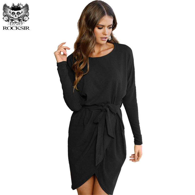 2018 Spring Women Collar Loose Long Sleeve Asymmetrical Dress Bust Dresses Solid Black Plus Size In From S Clothing