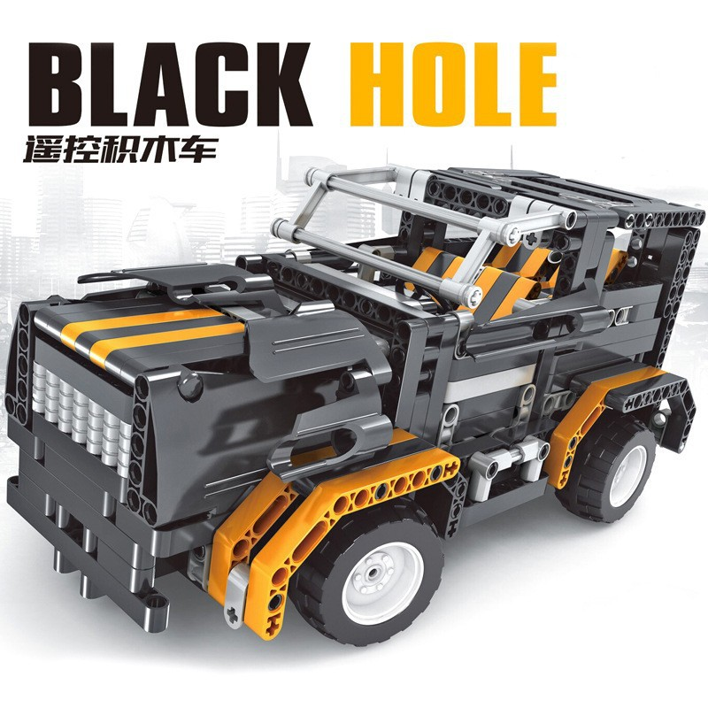 ФОТО Free Shipping RC Blocks Truck Car Model 8001 Black Hole 4 CH Electric Vehicle Build DIY Toys Race Cars Large Road Crash Game
