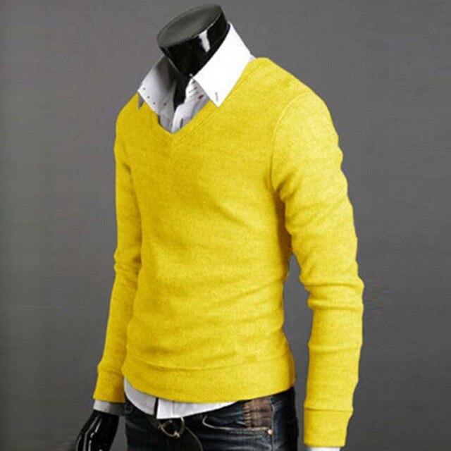 Homem Camisola Outono Inverno Masculino Quente Malhas Luva Cheia Longo Pullover de Decote Em V Ajuste Tricô Cara Presente Moda Casual Baratos
