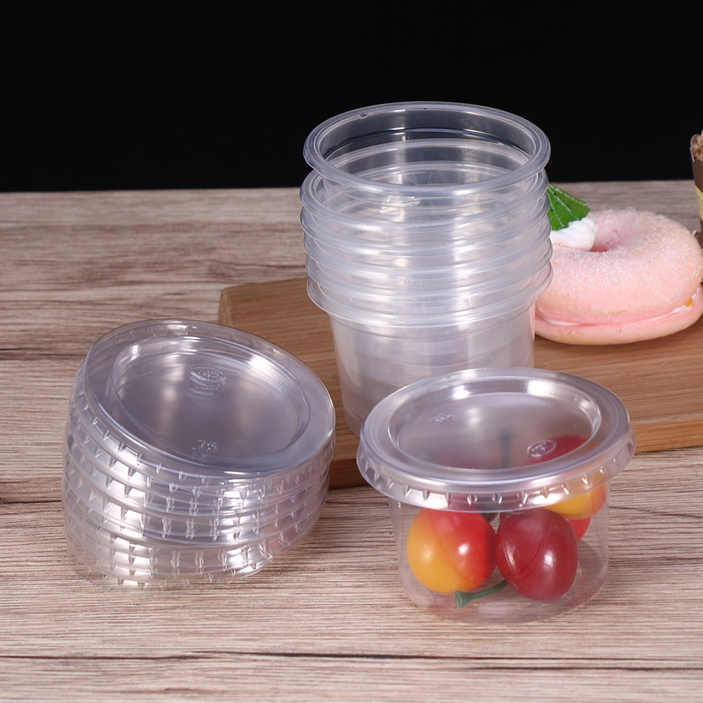 100Pcs 150ml Disposable Plastic Portion Cups Lids Container For Jelly Yogurt Mousses Cups For Dessert Houses Party Supplies in Disposable Party Tableware from Home Garden