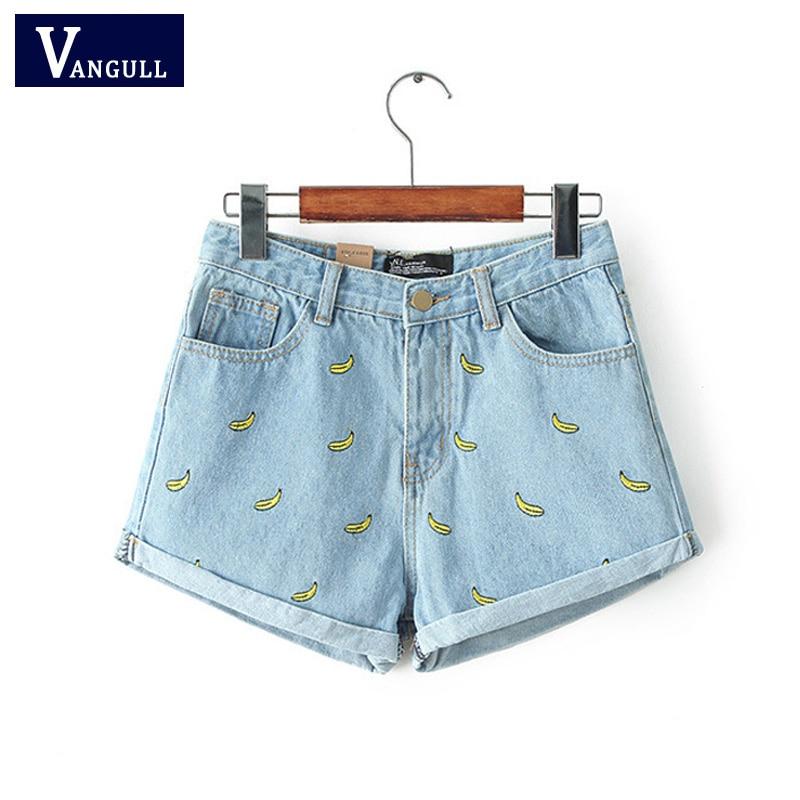 Korean Version Summer Women's Clothing Banana Flower Embroidery Denim Shorts Cotton Loose Type Casual Female High Waist Shorts