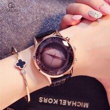 GUOU 여성 시계 간단한 럭셔리 시계 패션 레이디 럭셔리 손목 시계 정품 가죽 시계 여성 팔찌 시계 손목 시계