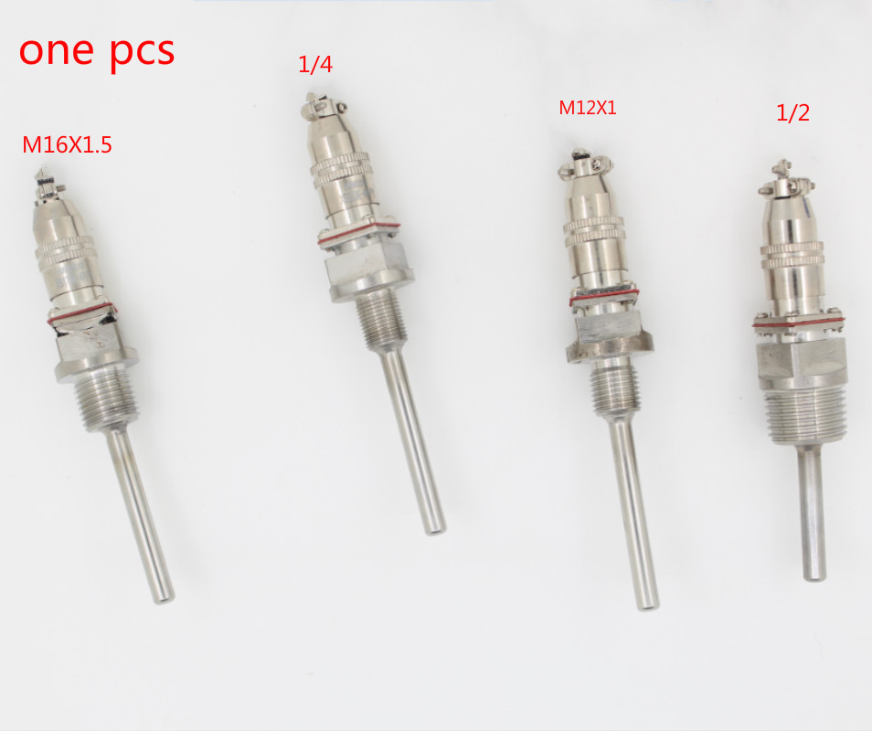BSP 1/2 1/4 M12X1 M16X1.5 Stainless Steel -20 To 300 Degree Temperature Transducer Probe PT100 Temperature Sensor L50-200mm
