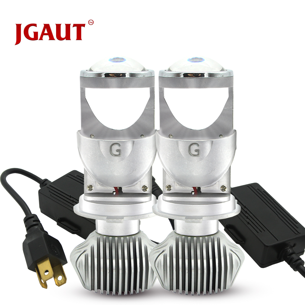 JGAUT 100W/Pair Lamp H4 LED Mini Projector Lens Automobles LED Bulb LED Conversion Kit Hi/Lo Beam Headlight 12V/24V 6000K HID skyjoyce mini led projector lens h4 led headlight bulbs led conversion kit h4 led bulb light lamp hi lo beam headlight lhd h4