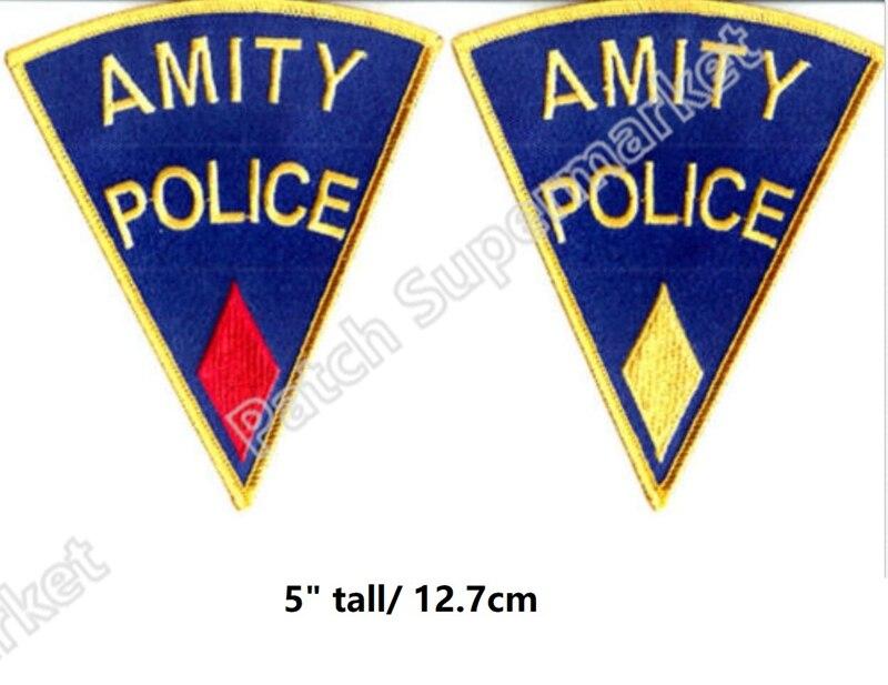 """5 """"jaws 보안관 brody amity island 유니폼 패치 배지에 수 놓은 철 공포 영화 할로윈 코스프레 의상 의류 diy-에서패치부터 홈 & 가든 의  그룹 1"""