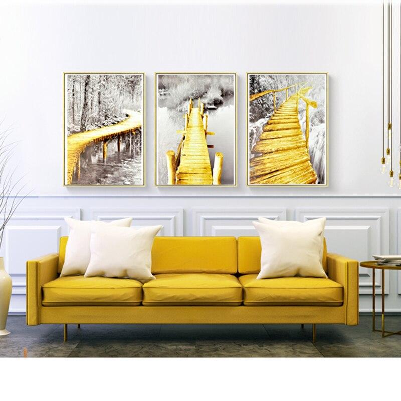 Hot Sale Gold Bridge To Forest Black White Photograph Realist Canvas ...