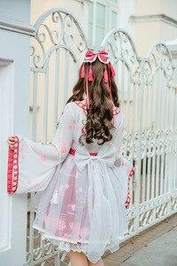 Image 3 - لوليتا الصينية نمط ذهبية فتاة وهمية قطعتين فستان طباعة فستان قطعة واحدة ساكورا زهر الاحتفال