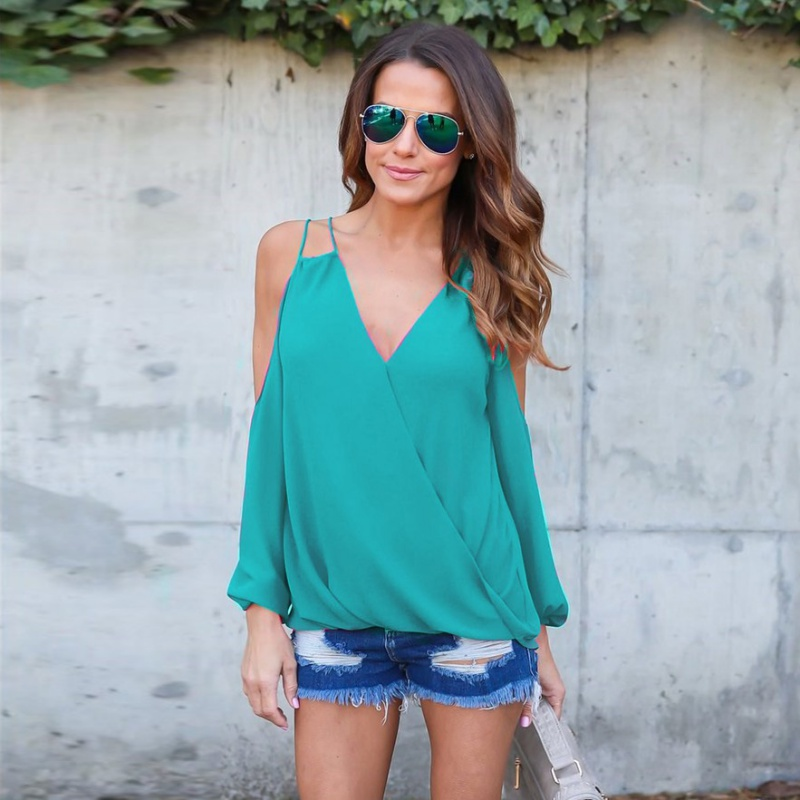Women Blouses Chiffon Cold Shoulder Shirts 2017 Summer Casual V Neck Blouse Long Sleeve Sexy Shirt For Women Ladies Tops 2755
