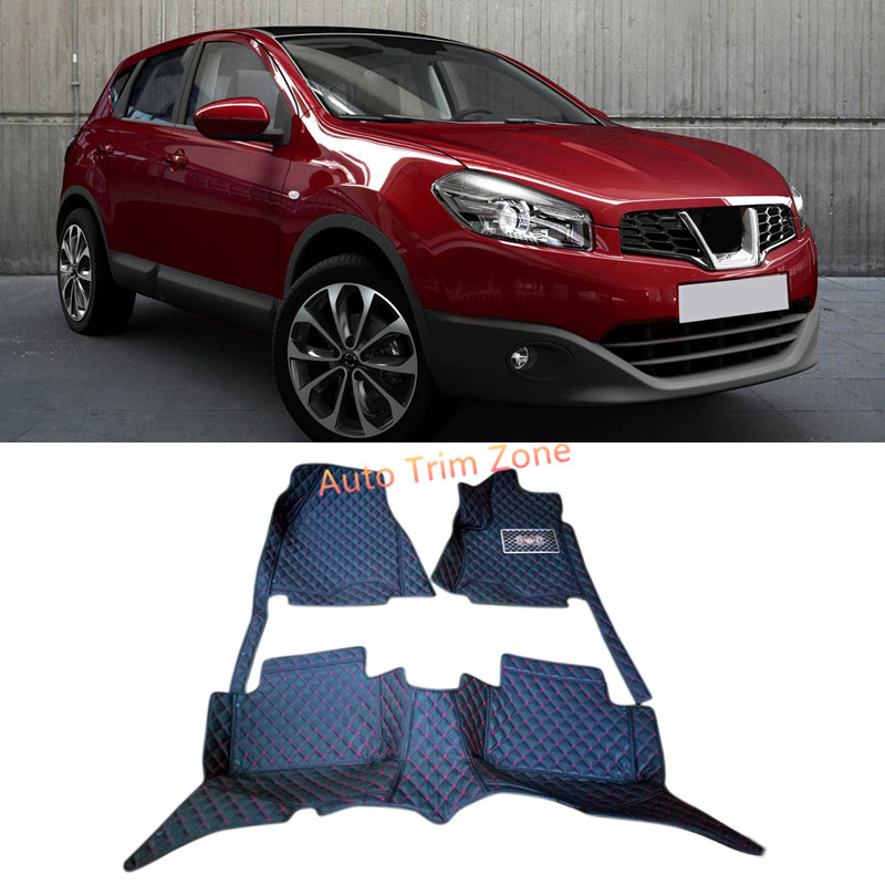 Interior Black Leather Floor Mats & Carpets For Nissan Qashqai / Dualis 2008-2013 J10 black leather interior floor mats