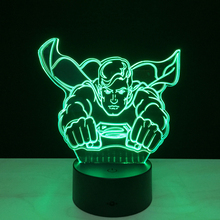 Hot sale Superman Colorful gradient 3D night light Creative remote control or touch switch night light led table lamp