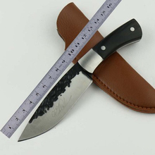 Portable handmade knife 58HRC ebony wood handle 5Cr13 blade hunting straight knife outdoor camping knife gift knife