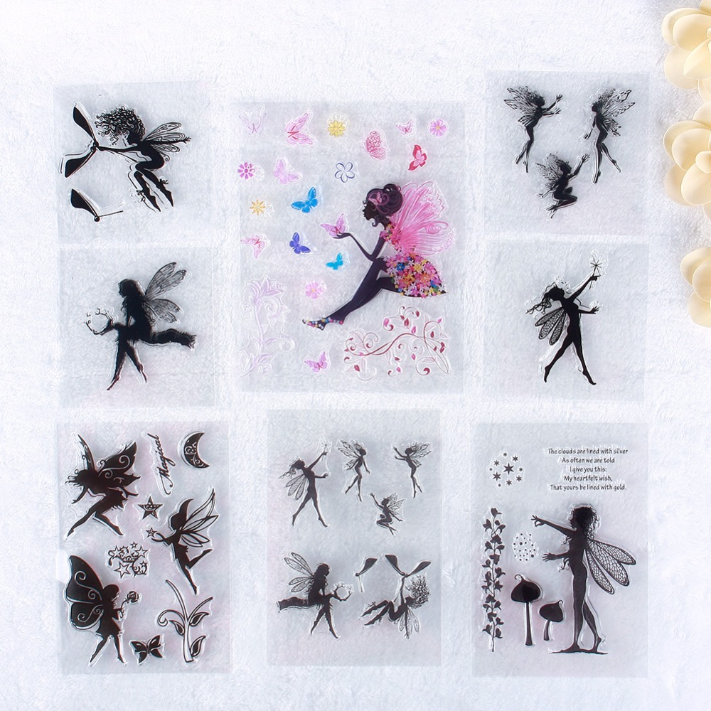 New Scrapbook DIY Photo Cards Account Rubber Stamp Clear Stamp Transparent Little Fairy Pattern Stamp #230671