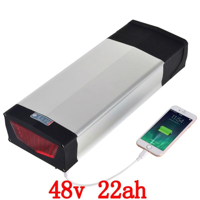 48 v 22Ah 1000 w Lithium ion Vélo Électrique Batterie USB Port et 54.6 v 2A Chargeur pour 48 v batterie Avec La Queue de Lumière