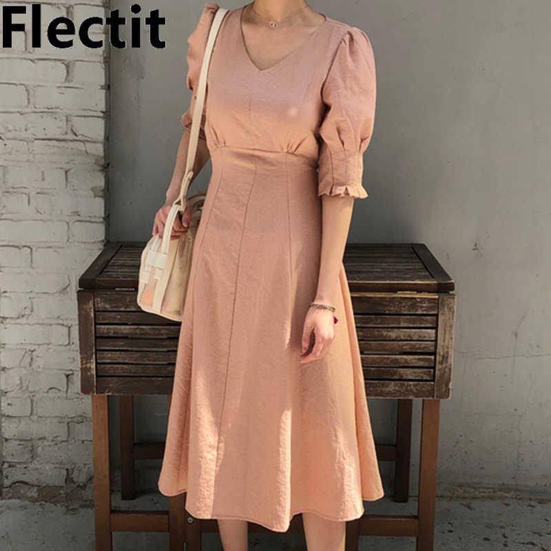 Флектит 80s платье для женщин персиковый светильник желтый микро плед с пышными рукавами высокой талией длинное платье с поясом в винтажном стиле *