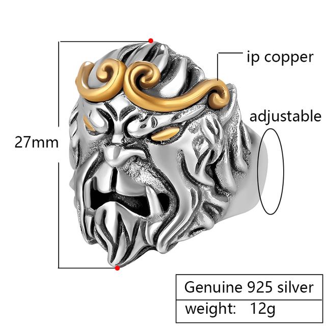 ZABRA Solid 925 Sterling Silver Rings Men Animal Monkey King Adjustable Vintage Punk Rock Biker Rings Male Jewelry