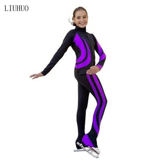 4色衣装カスタマイズアイススケートフィギュアスケートスーツジャケットとパンツローリング暖かいフリース成人した子供女の子ズボンl