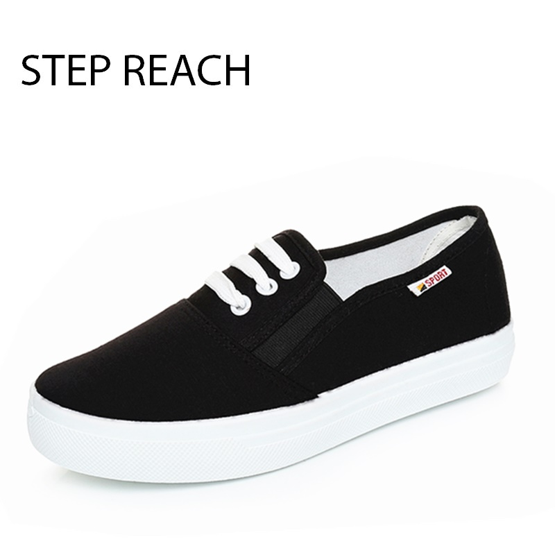STEPREACH Brand shoes woman flats women casual canvas comfortble zapatos mujer solid Black chaussures platform slip-on rubber vintage women flats summer new soft canvas embroidery shoes casual slip on bow dance flat sandals for woman zapatos mujer