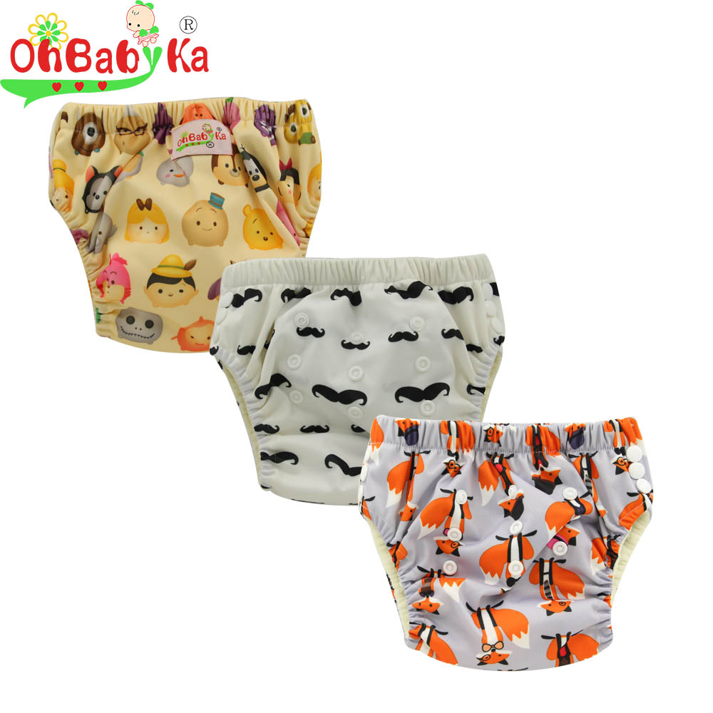 Ohbabyka Baby Training Pants Newborn Diaper Cover Reusable Infant Learning Pants Bamboo Diaper Training Pants Children Underwear