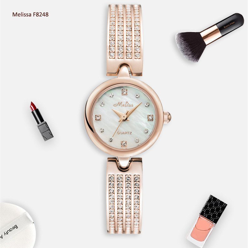 Здесь можно купить  Fashion MELISSA Delicate Bracelet Watch Simple Women Crystals Bangle Watches Quartz Natural Shell Relogios Montre Femme F8248  Часы