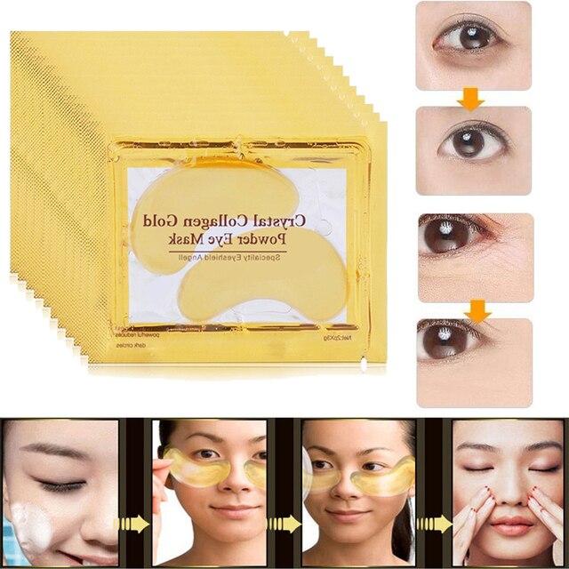 24 K oro máscara de ojo colágeno cristal suero ojo parches Anti arrugas Puffiness círculo oscuro Anti-envejecimiento ojos piel cuidado de edad 5 piezas