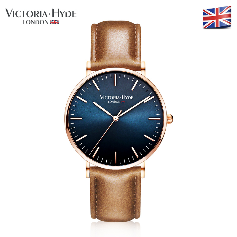 VICTORIA HYDE Men Quartz Watches Three Hand Business Casual Wristwatch Genuine Leather Strap With Box