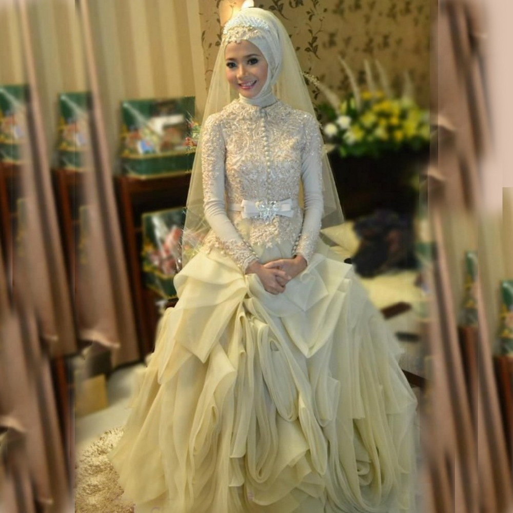 Luxury Puffy muslim wedding gowns Long Sleeve High Neck Wedding ...
